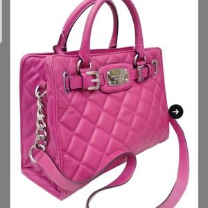 Michael Kors hot pink quilted strap shoulder purse